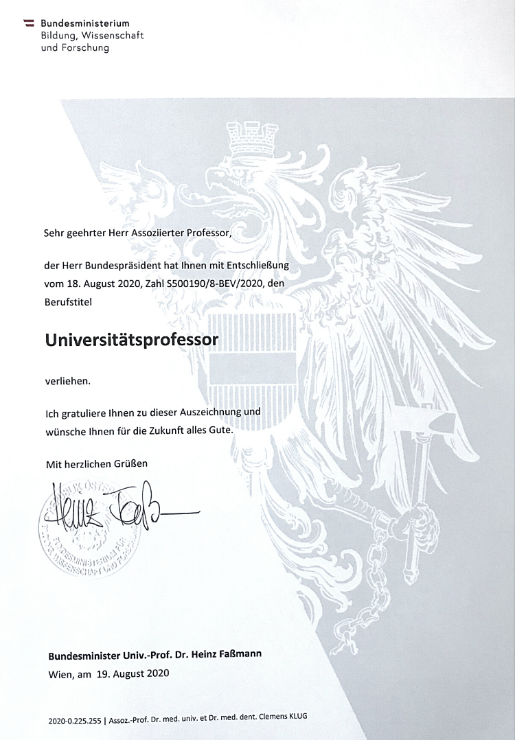Univ. Prof. Dr. Dr. Clemens Klug